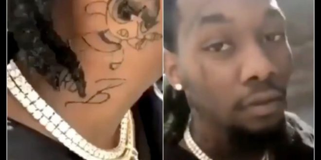 Offset Puts Tattoo Of Cardi B On His Neck [Video