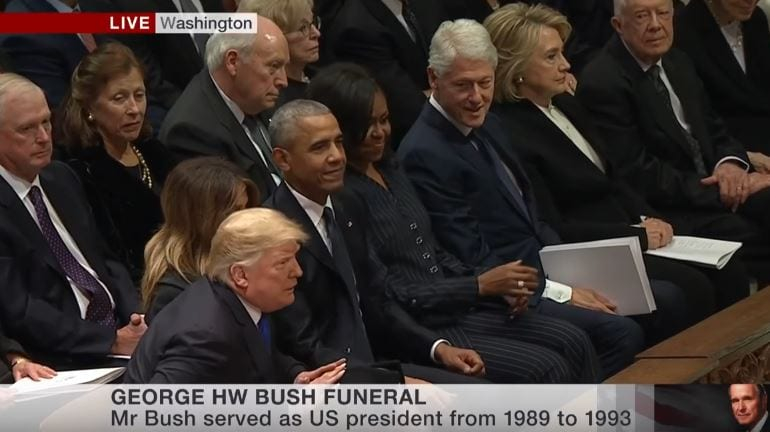 Photo of Trump Arrives at George HW Bush Funeral… Greet the Obamas but not Clintons [Video]