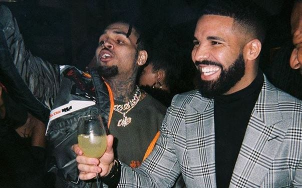 drake and chris brown after bloody beef