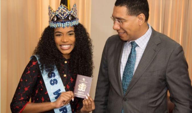 Miss World 2019 Toni-Ann Singh and andrew holness Made Ambassador Granted Diplomatic Passport