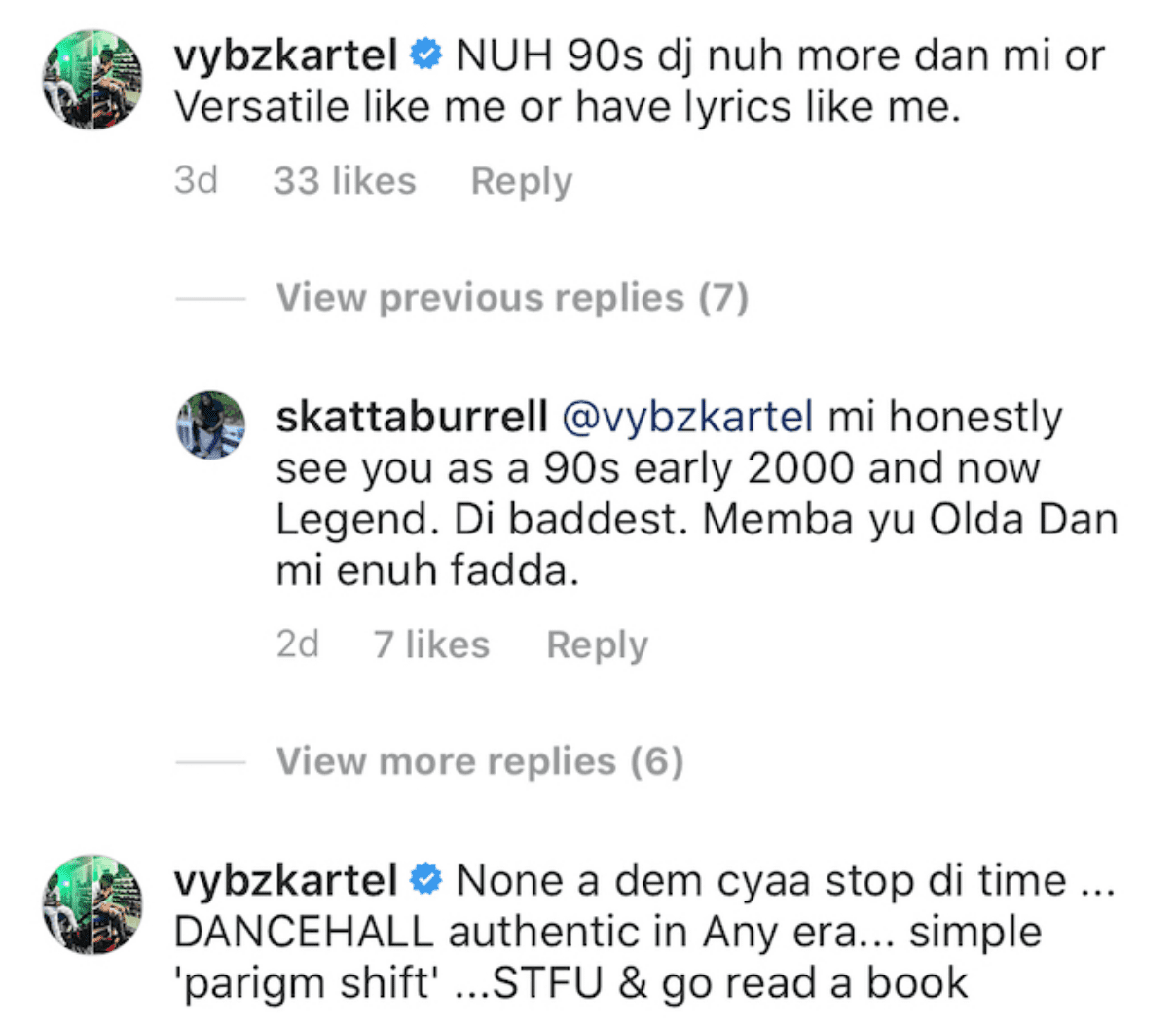 Vybz kartel makes statement on IG