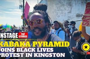 Kabaka Pyramid Stands With Black Lives Matter Protester In Kingston outside US Embassy