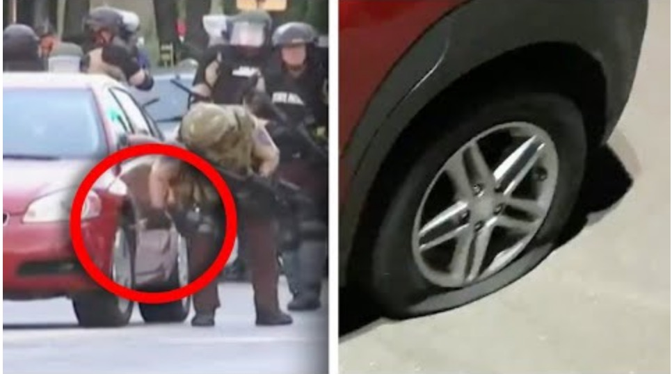 Photo of Cops in Minneapolis here Slashing Parked Car Tires [Video]