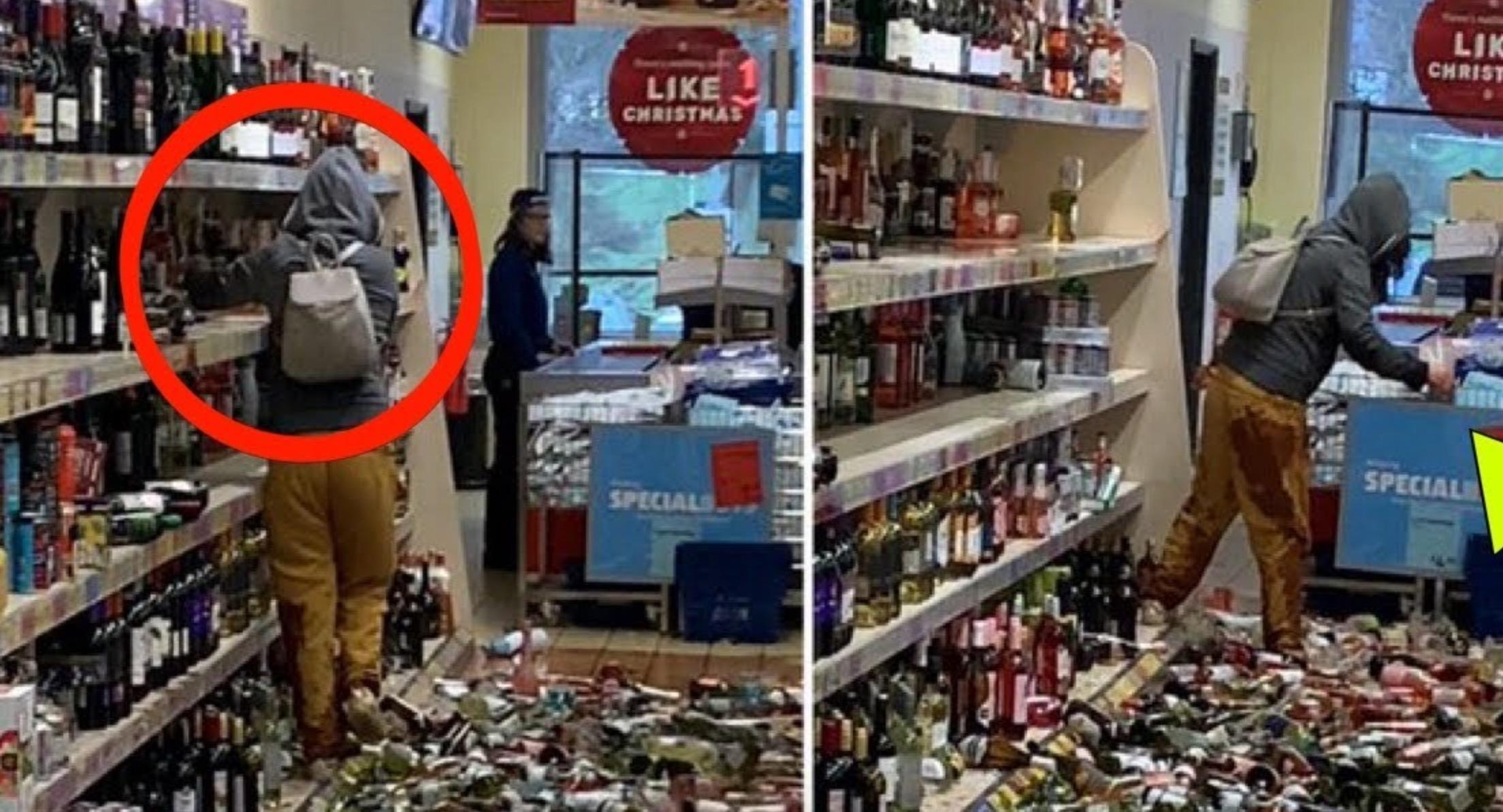 Drunk Female breaks over 500 Bottles of Liquor in UK store – Video
